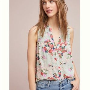 Anthro Meadow Rue Pintucked Button Down Floral Top